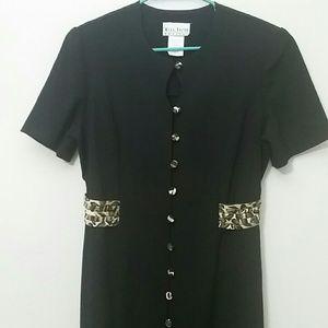 Dress animal print black maxi green Petite